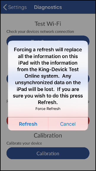 Screenshot of force refresh confirmation