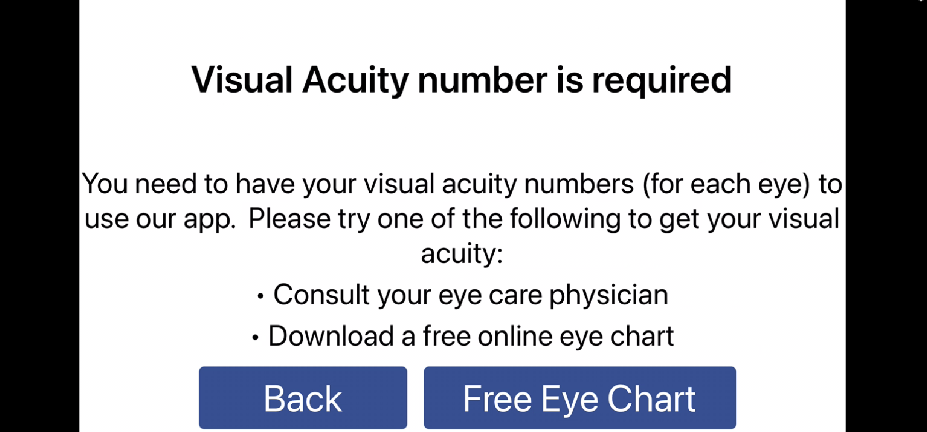 page that allows you to e-mail yourself the eye chart PDF