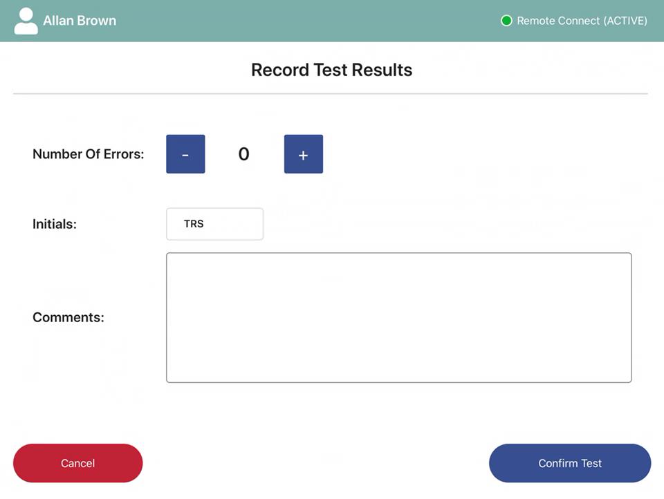 Error entry screen