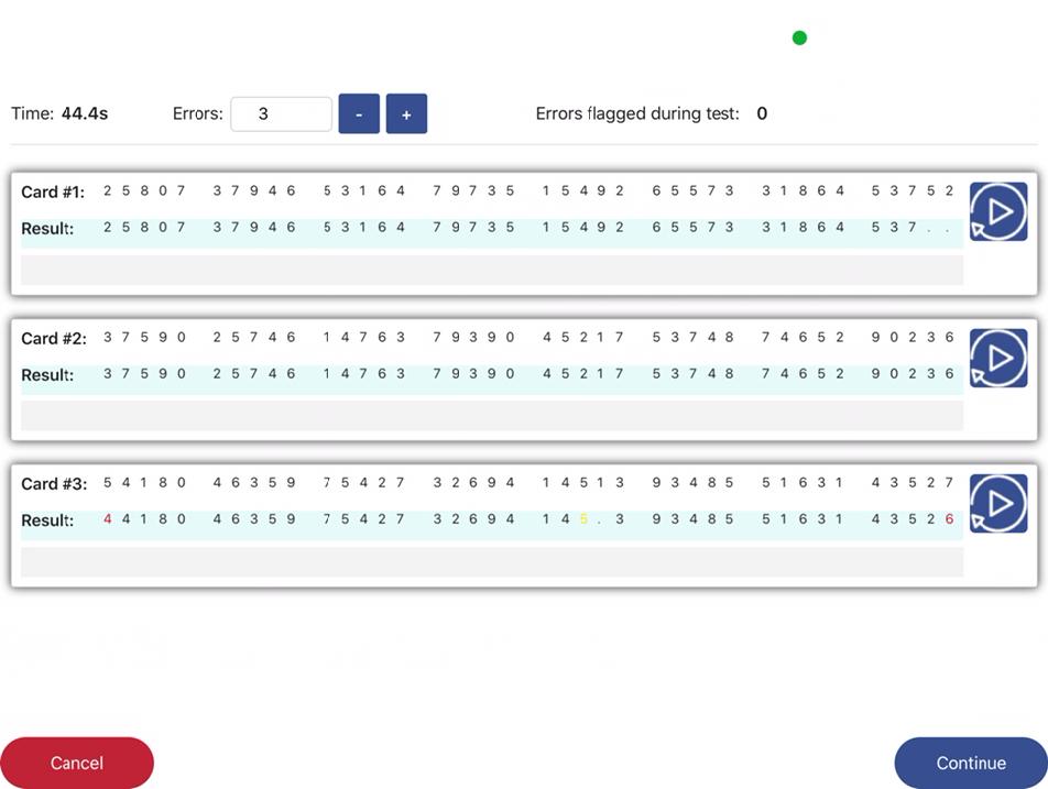 ASR Error review screen