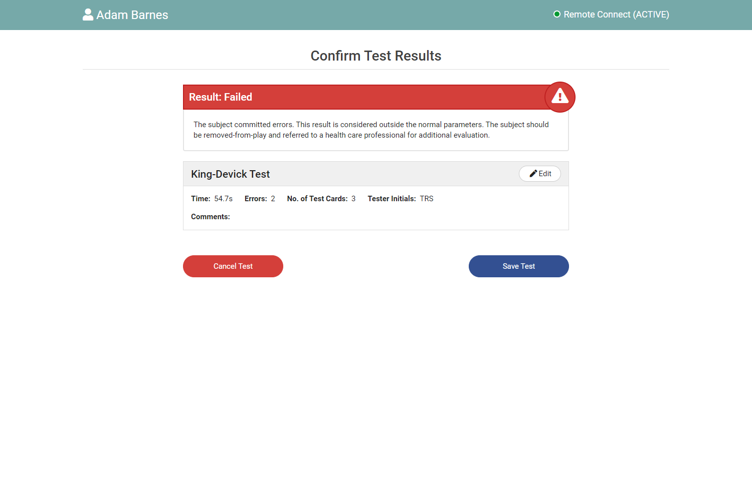 Test Result screen