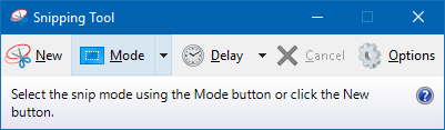 Snipping Tool  New Mode  Cancel  Options  Select the snip mode using the Mode button or click the New  button.