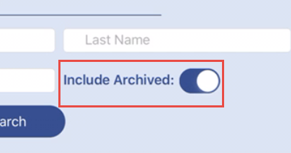 screenshot illustrating the include archived checkbox above the first name search field
