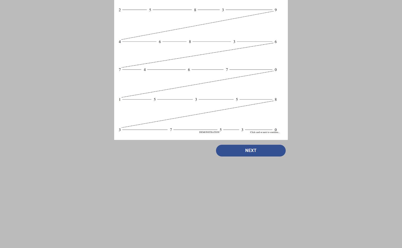 demonstration card showing sample lines