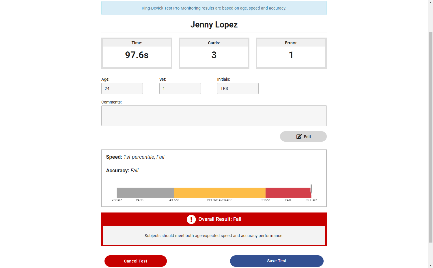 Test Results page with normative data