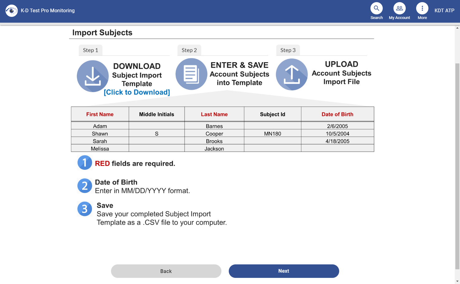 screenshot of the import template and instructions
