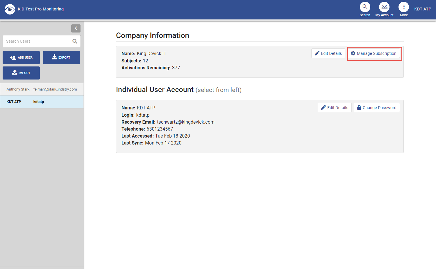 screenshot of my account page with manage subscription highlighted in the upper right of main area
