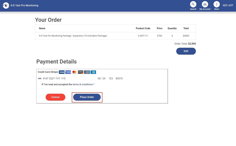 screenshot of checkout page