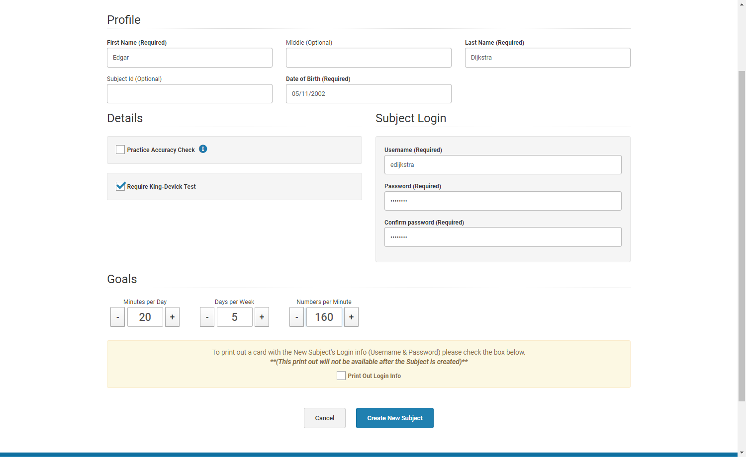 Example of a filled out subject creation form
