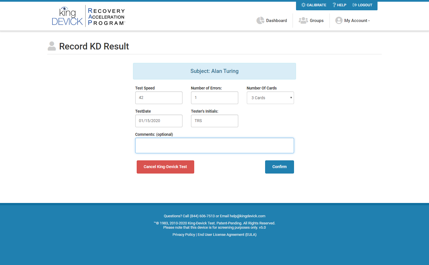 Record K-D Test Example