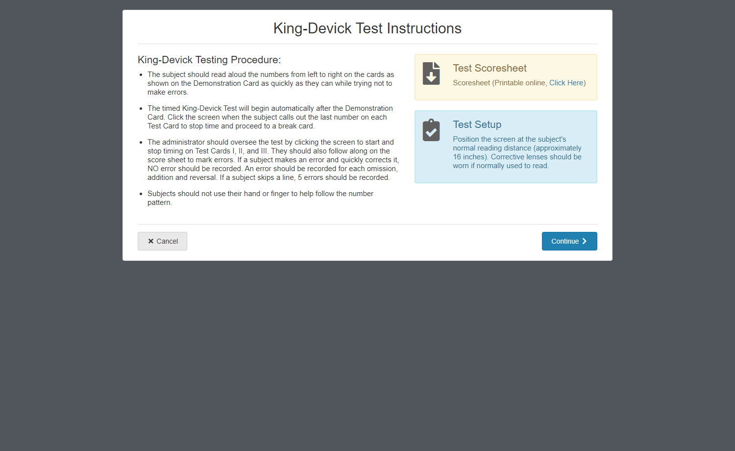 K-D test instructions